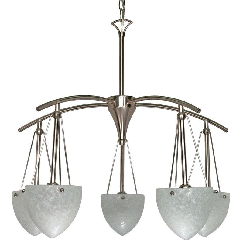 Nuvo South Beach - 5 Light - 25 inch - Chandelier - w/ Water Spot Glass