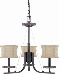 Nuvo Madison - 3 Light 22 inch Chandelier w/ Fabric Shades
