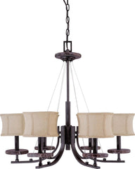 Nuvo Madison - 6 Light 28 inch Chandelier - w/ Fabric Shades