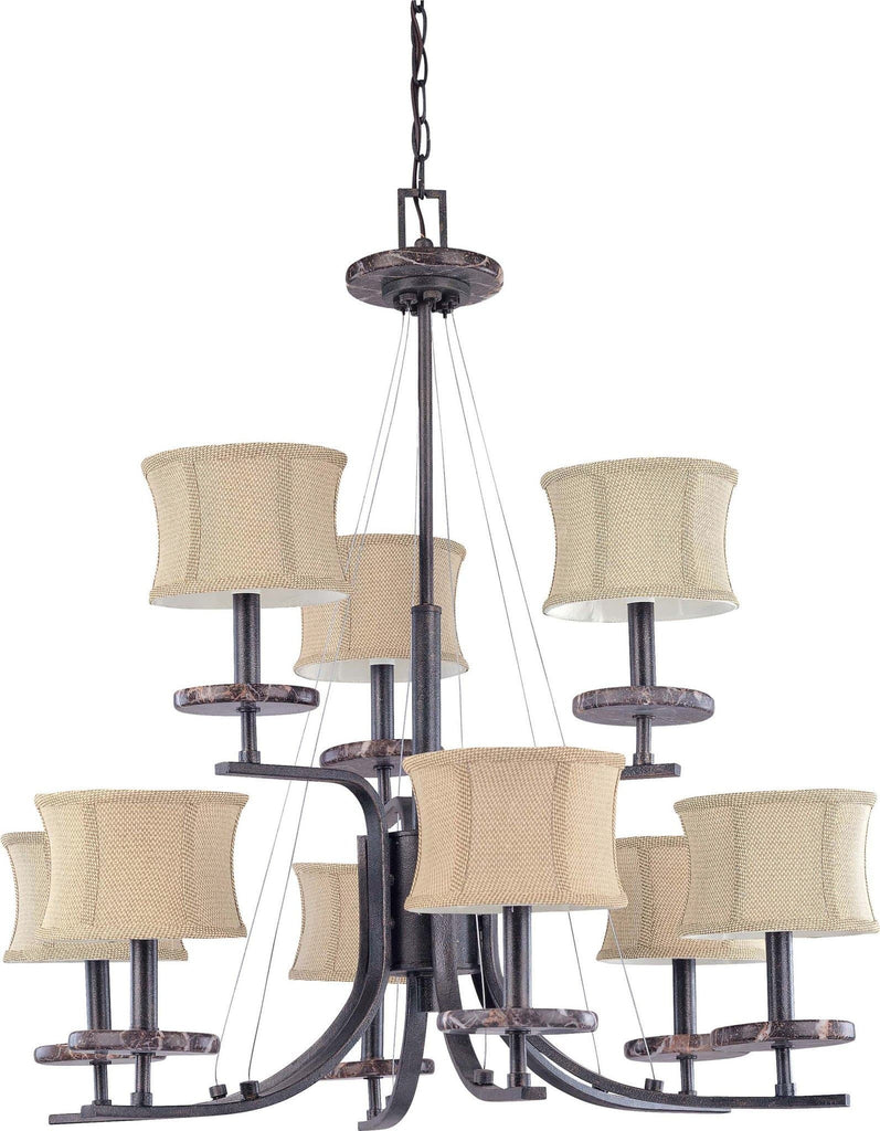 Nuvo Madison - 9 Light 2 Tier 32 inch Chandelier - w/ Fabric Shades