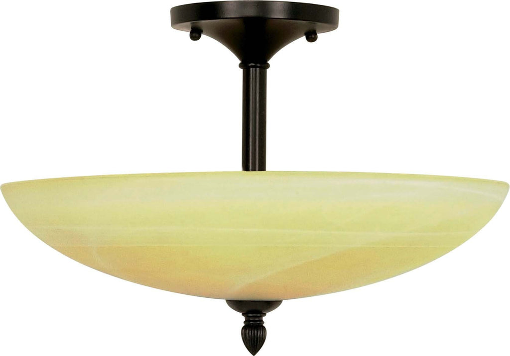 Nuvo Vanguard - 3 Light  16 in - Semi-Flush w/ Gold Washed Alabaster Swirl Glass