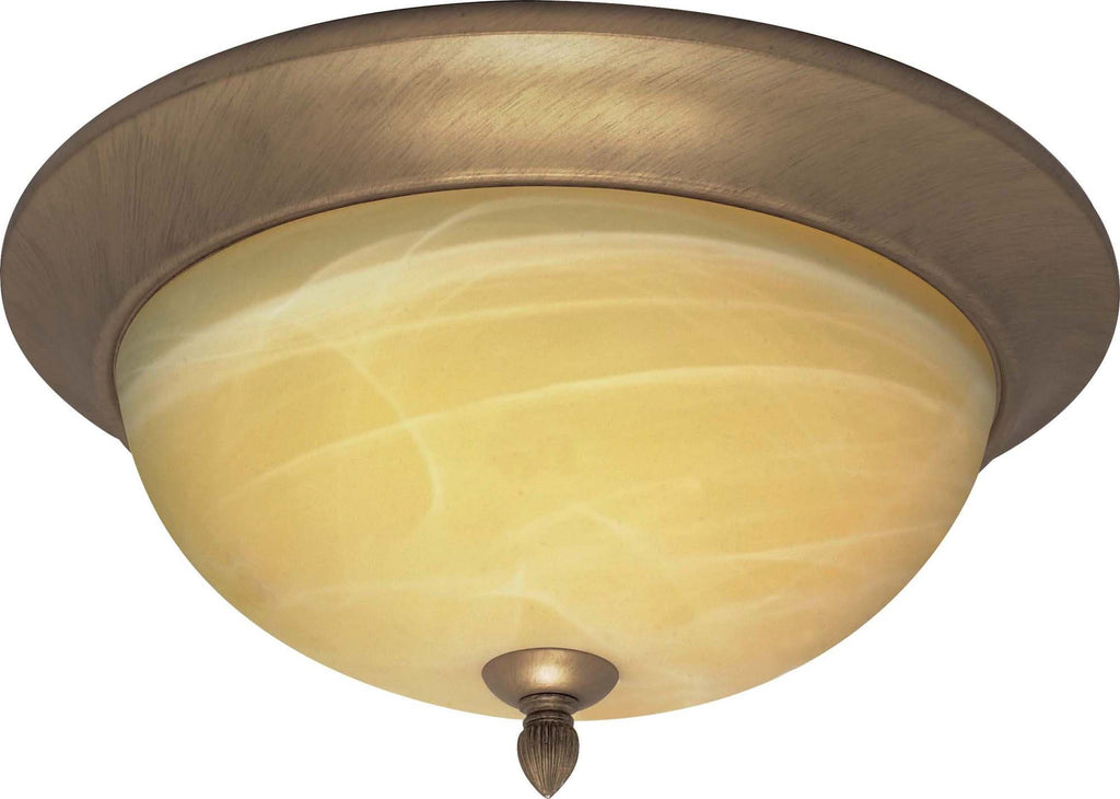 Nuvo Vanguard - 3 Light - 15 inch - Flush Mount - w/ Gold Washed Alabaster Swirl Glass