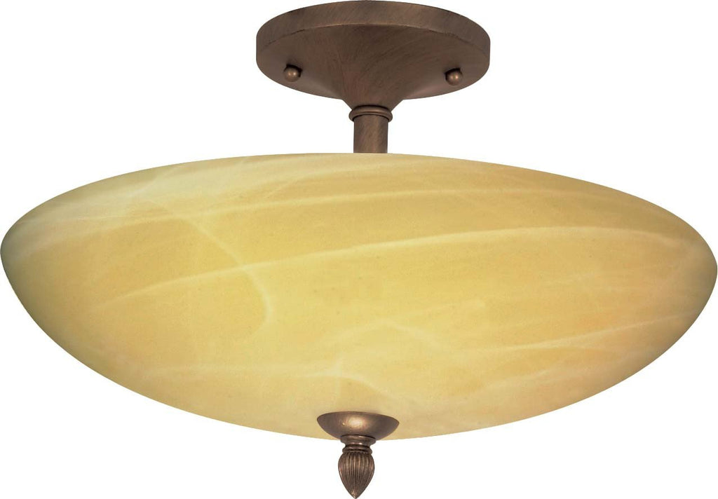 Nuvo Vanguard - 3 Light - 16 inch - Semi-Flush - w/ Gold Washed Alabaster Swirl Glass