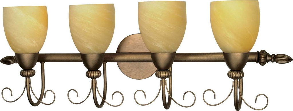 Nuvo Vanguard - 4 Light  32 in - Vanity w/ Gold Washed Alabaster Swirl Glass