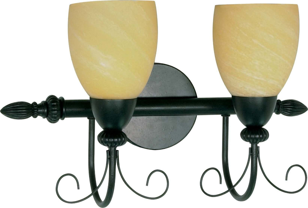 Nuvo Vanguard - 2 Light - 18 inch - Vanity - w/ Gold Washed Alabaster Swirl Glass
