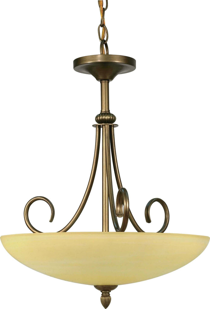 Nuvo Vanguard - 3 Light  16 in - Pendant  w/ Gold Washed Alabaster Swirl Glass