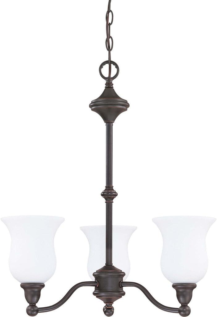 Nuvo Glenwood - 3 Light 22 inch Chandelier w/ Satin White Glass