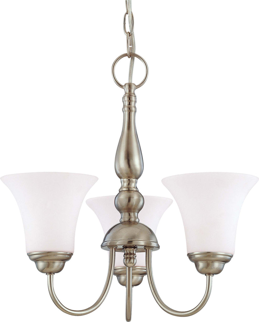 Nuvo Dupont - 3 light 16 inch Chandelier w/ Satin White Glass