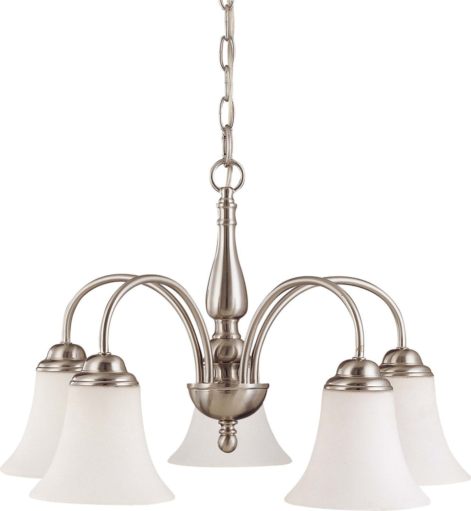 Nuvo Dupont - 5 light 21 inch Chandelier w/ Satin White Glass