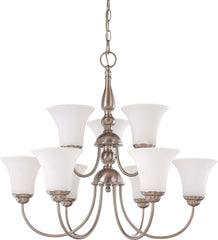 Nuvo Dupont - 9 light 2 Tier 27 inch Chandelier w/ Satin White Glass