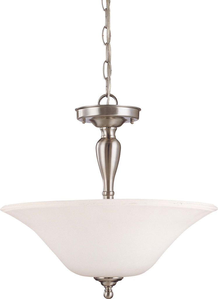 "Nuvo Dupont 3-Light 16"" Semi Flush w/ Satin White Glass in Brushed Nickel"