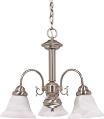 "Nuvo Ballerina 3-Light 20"" Chandelier w/ Alabaster Glass in Brushed Nickel"