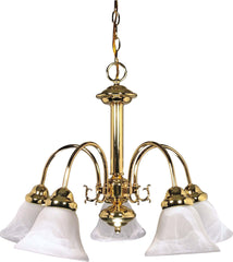 Nuvo Ballerina - 5 Light - 24 inch - Chandelier - w/ Alabaster Glass Bell Shades