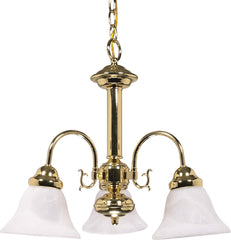Nuvo Ballerina - 3 Light - 20 inch - Chandelier - w/ Alabaster Glass Bell Shades