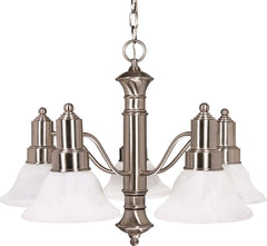 Nuvo Gotham - 5 Light - 25 inch - Chandelier - w/ Alabaster Glass Bell Shades