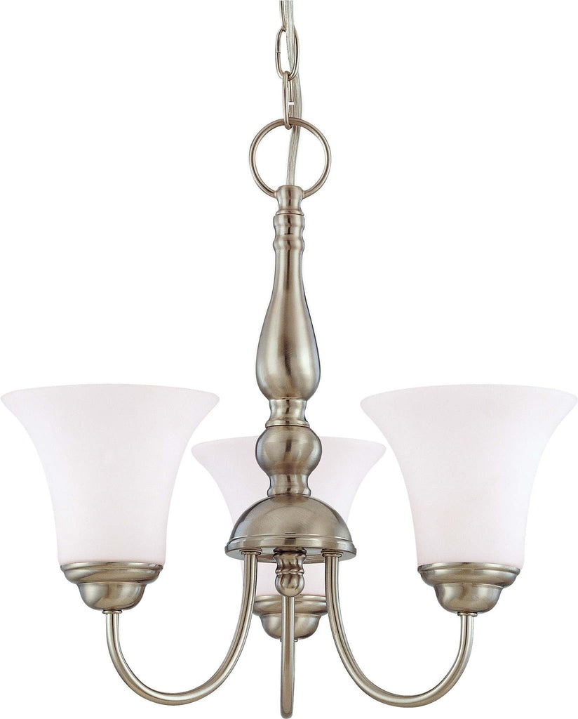 Nuvo Dupont ES - 3 light 16 inch Chandelier w/ Satin White Glass - 13w GU24 Lamps Included