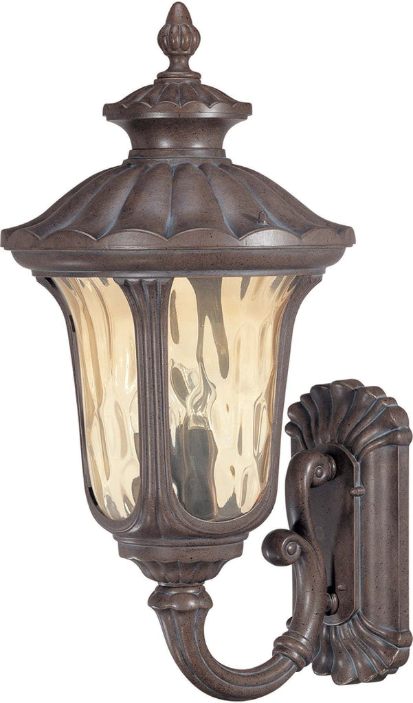Nuvo Beaumont - 3 Light Large Wall Lantern- Arm Up w/ Amber Water Glass