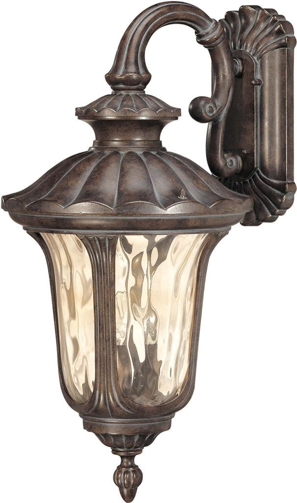 Nuvo Beaumont - 3 Light Large Wall Lantern- Arm Down w/ Amber Water Glass