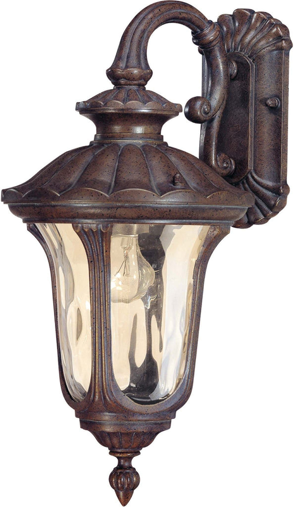 Nuvo Beaumont - 1 Light Small Wall Lantern- Arm Down w/ Amber Water Glass
