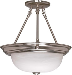 "Nuvo 2-Light 13"" Semi Flush Mount w/ Alabaster Glass in Brushed Nickel Finish"