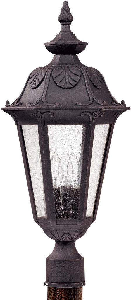 Nuvo Cortland - 3 Light Large Post Lantern- w/ Seeded Glass