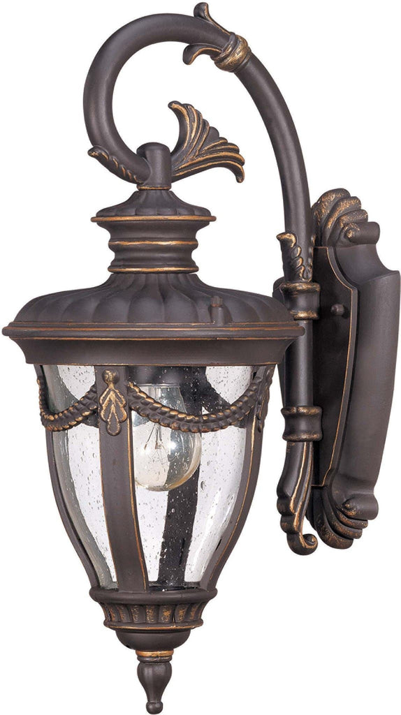Nuvo Philippe - 1 Light Small Wall Lantern Arm Down w/ Seeded Glass