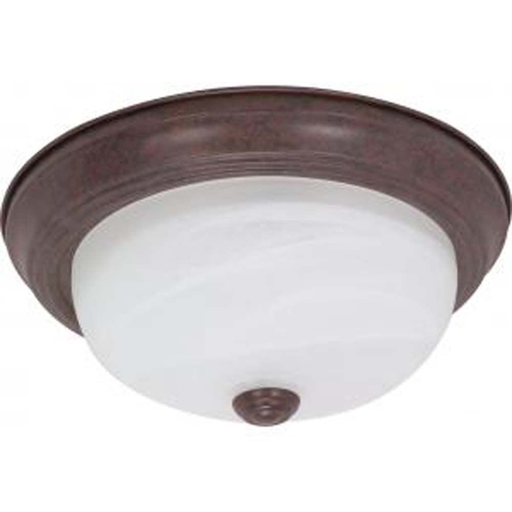 "Nuvo 2-Light 11"" Flush Mount Fixture w/ Alabaster Glass in Old Bronze Finish"