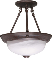 Nuvo 2 Light - 11 inch - Semi-Flush - Alabaster Glass