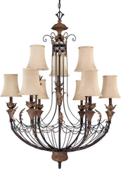 Nuvo Verdone - 9 Light 35 inch Chandelier w/ Fabric Shade
