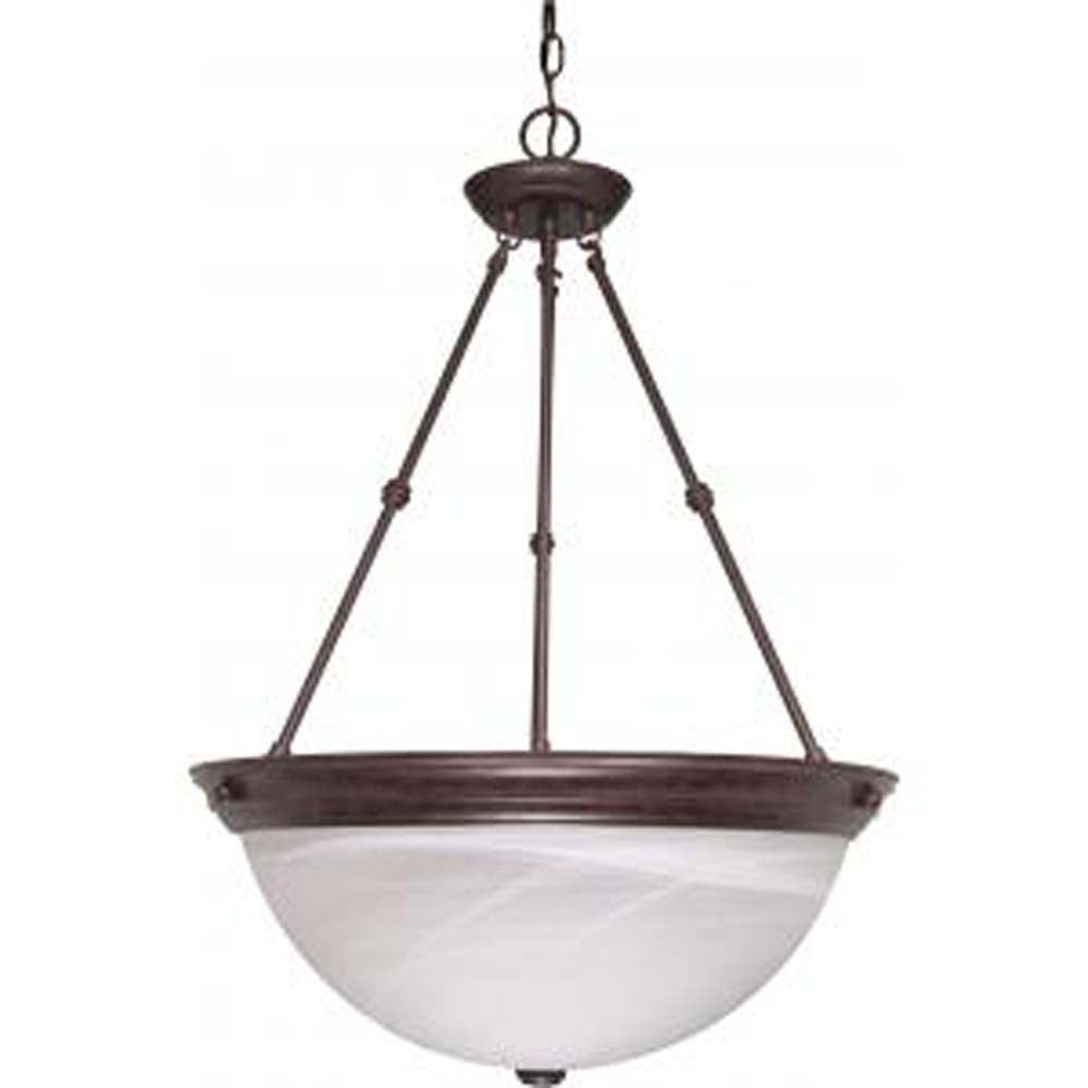 "Nuvo 3-Light 20"" Pendant Ceiling Fixture w/ Alabaster Glass in Old Bronze Finish"