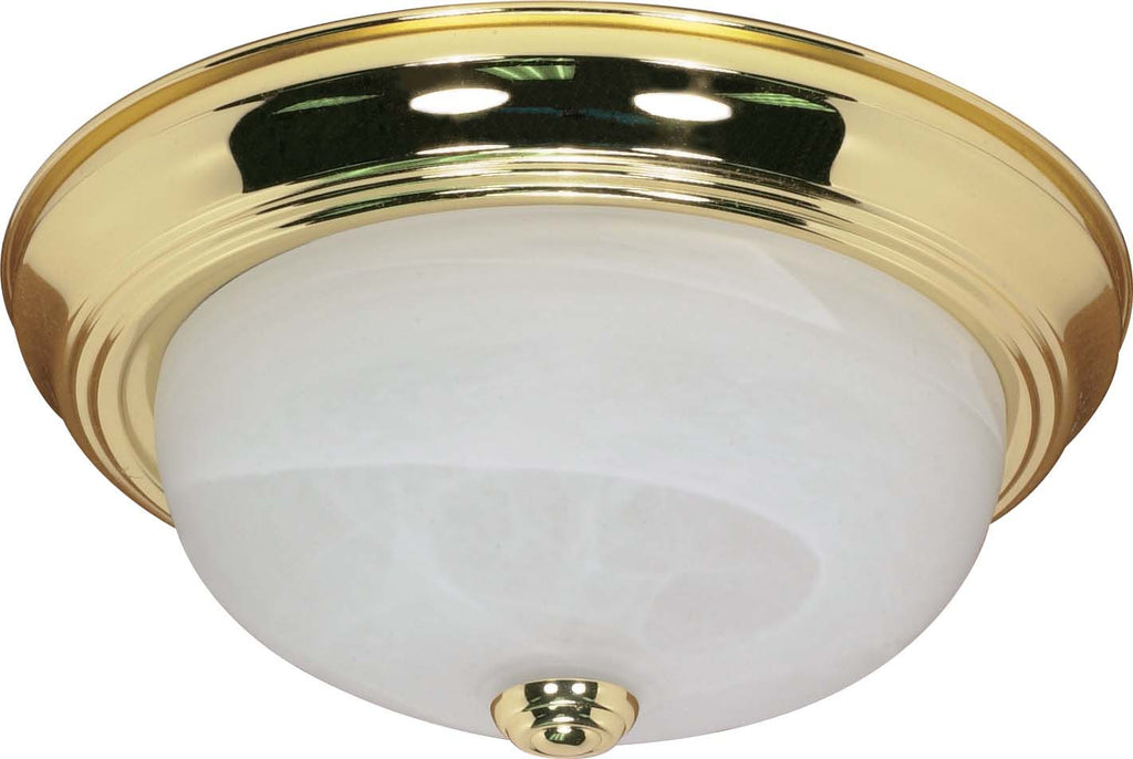 Nuvo 2 Light - 13 inch - Flush Mount - Alabaster Glass