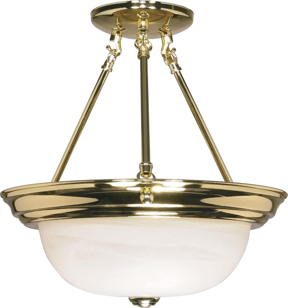 Nuvo 2 Light - 13 inch - Semi-Flush - Alabaster Glass