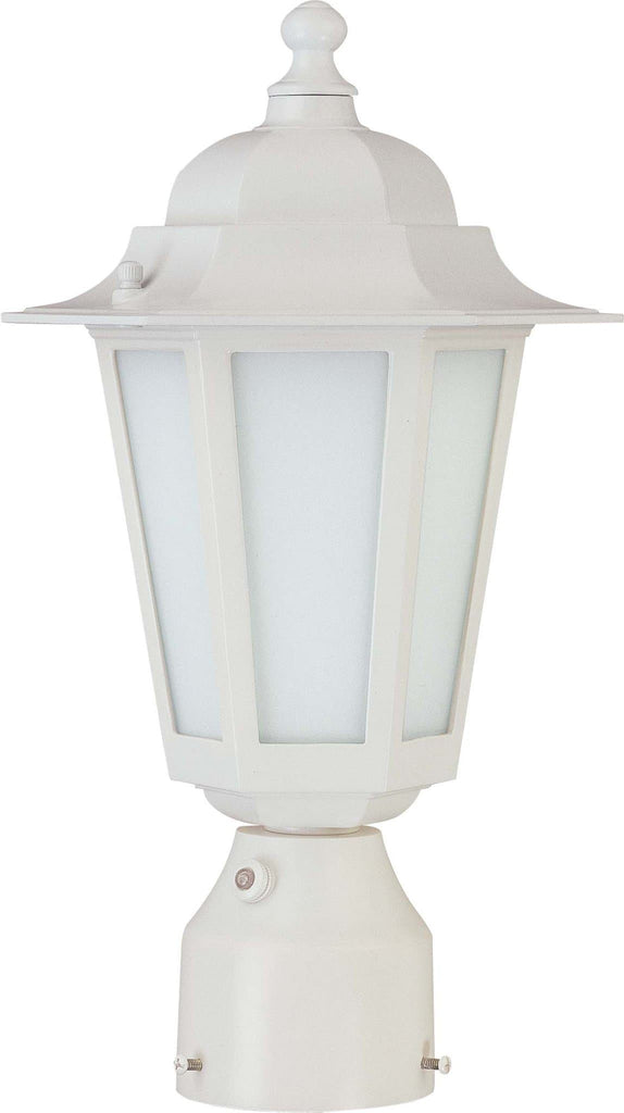 Nuvo Cornerstone ES, 1 Light 14in CFL Post Lantern w/Satin White Glass, 13w GU24