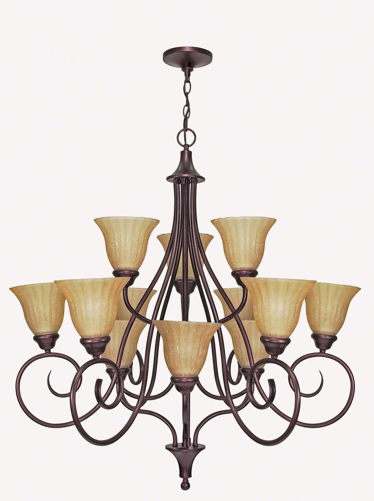 Nuvo Moulan ES - 12 Light Chandelier 3 Tier w/ Champagne Linen Glass - with Lamp