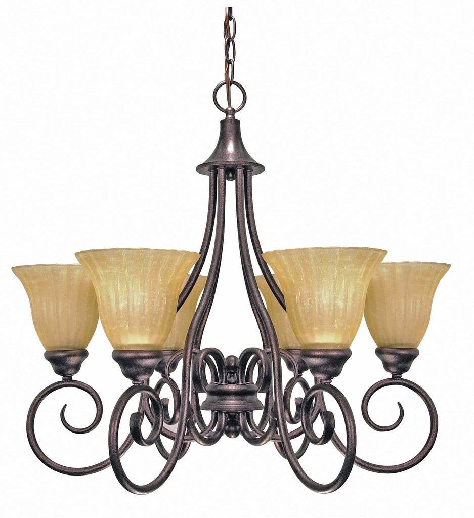 Nuvo Moulan ES - 6 Light Chandelier w/ Champagne Linen Glass - (Lamp Included)