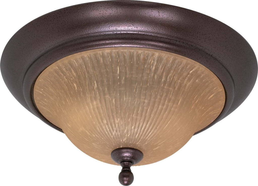 Nuvo Moulan ES - 2 Light Flush Mount w/ Champagne Linen Glass - (Lamp Included)