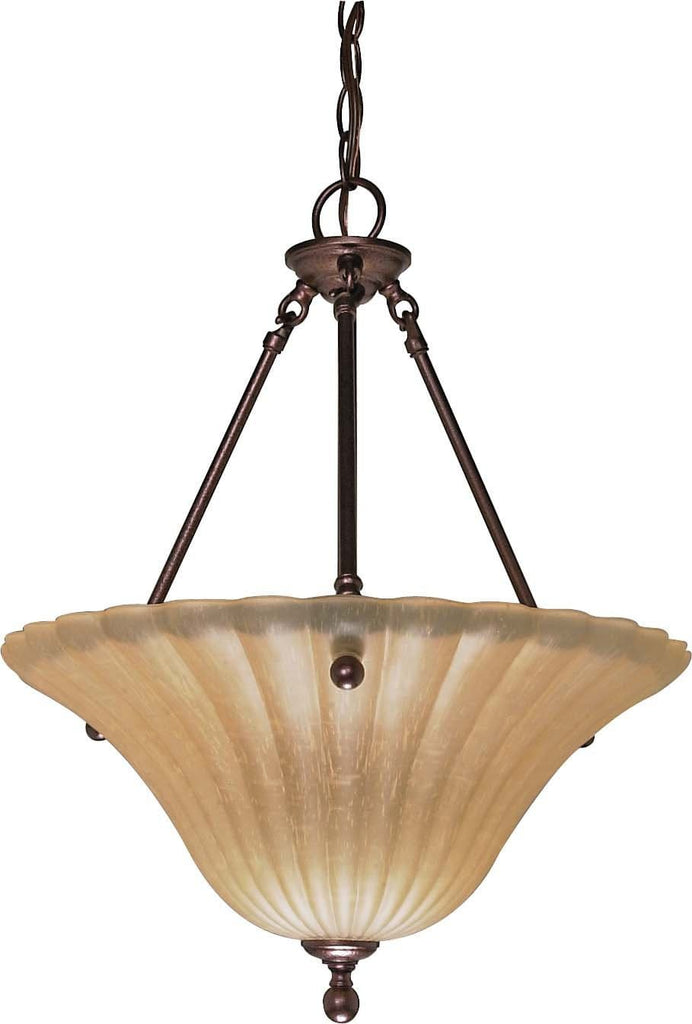 Nuvo Moulan ES - 3 Light Pendant w/ Champagne Linen Glass - (Lamp Included)