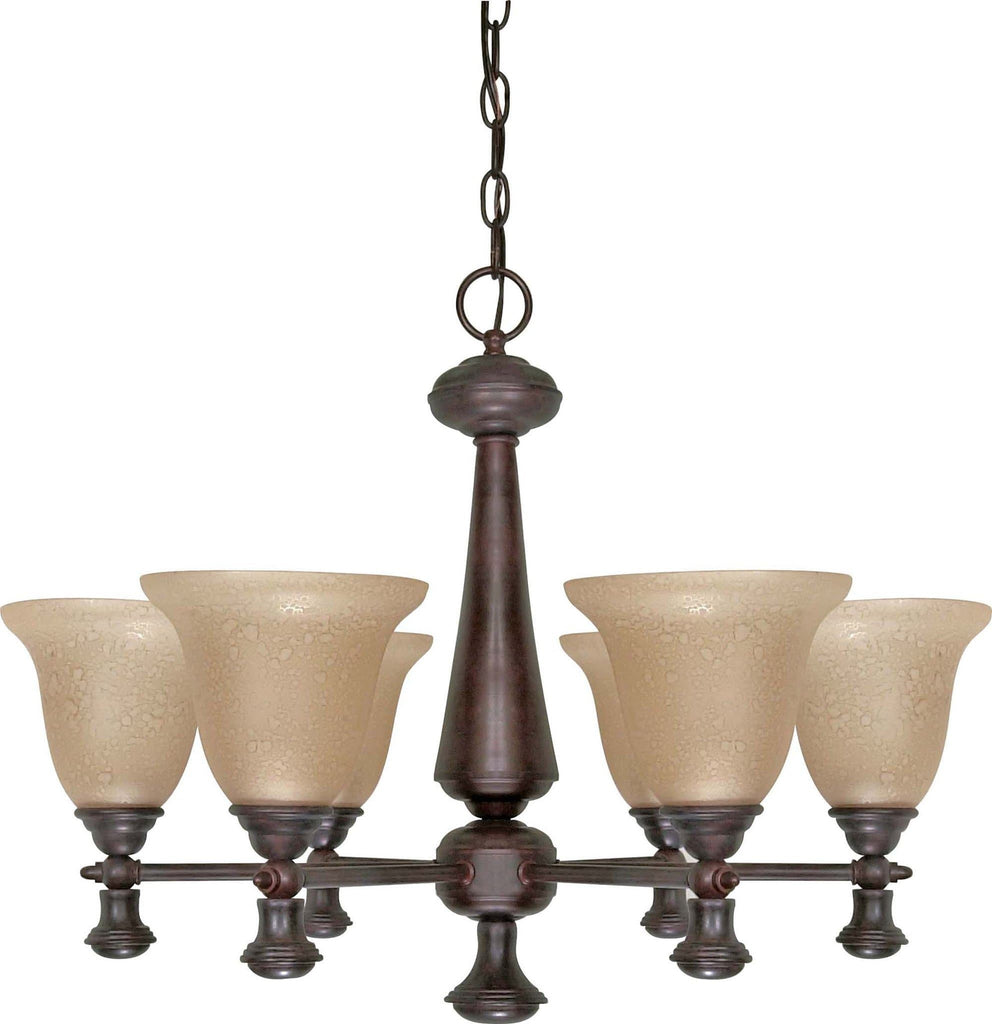 Nuvo Mericana ES - 6 Light Chandelier w/ Amber Water Glass - (Lamp Included)