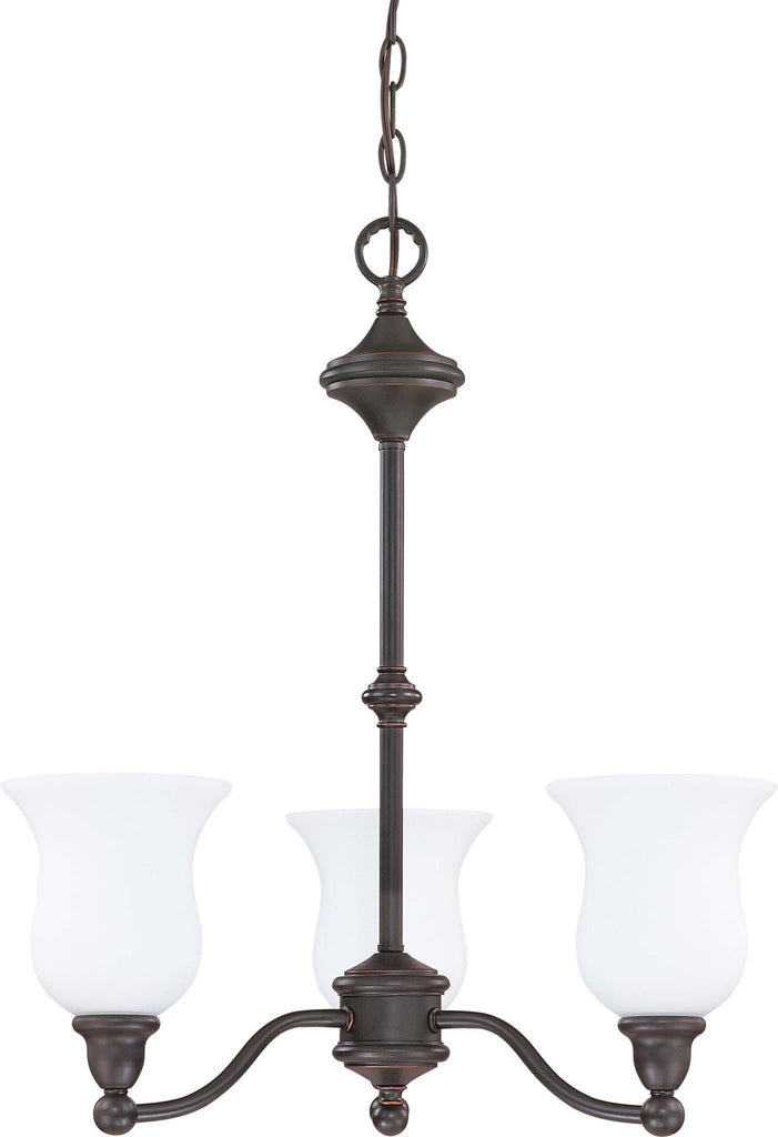 Nuvo Glenwood ES - 3 Light Chandelier w/ Satin White Glass - (Lamp Included)