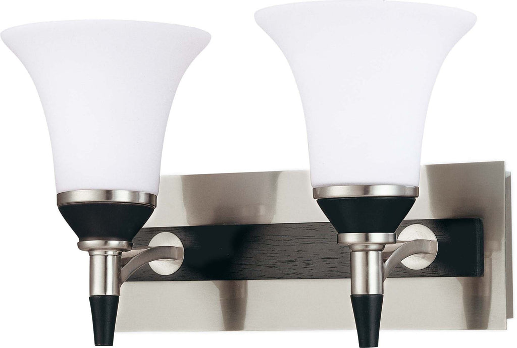 Nuvo Keen ES - 2 Light Vanity w/ Satin White Glass - (Lamp Included)