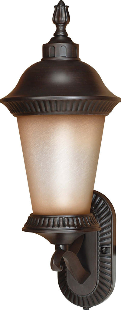 Nuvo Clarion ES - 9in 3 Light Wall Lantern Arm Up w/ Brushed Wheat Glass w/ Lamp