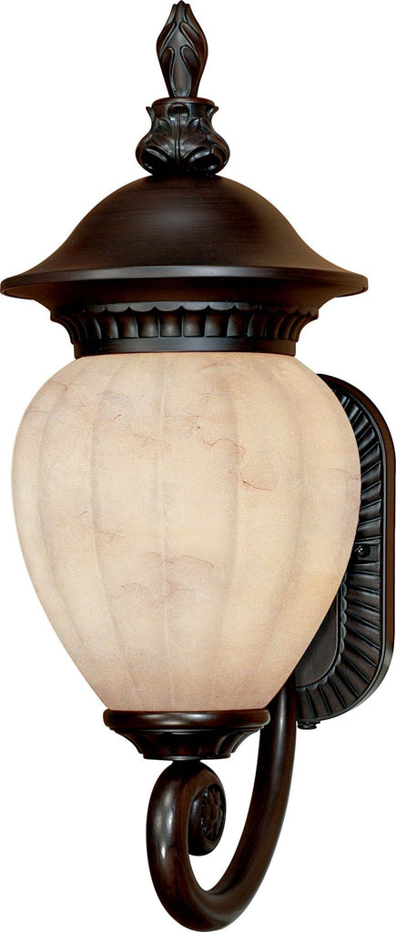 Nuvo Balun ES - 3 Light Wall Lantern Arm Up w/ Honey Marble Glass - with Lamp