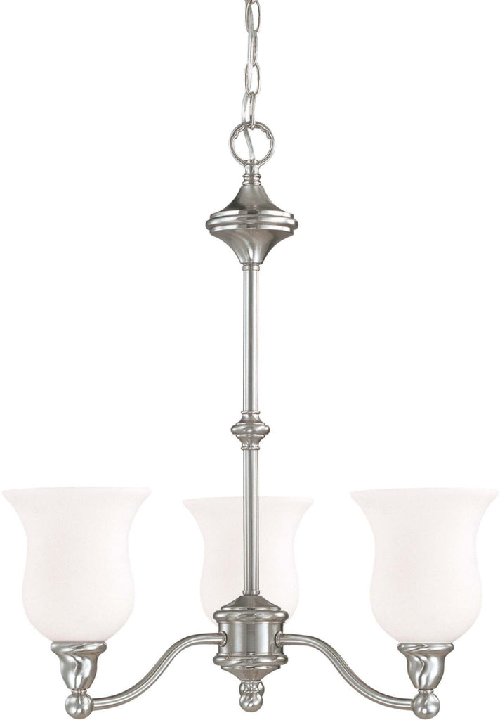 Nuvo Glenwood ES - 3 Light Chandelier w/ Satin White Glass - (Lamps Included)