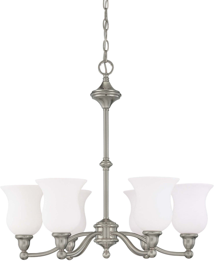 Nuvo Glenwood ES - 6 Light Chandelier w/ Satin White Glass - (Lamps Included)