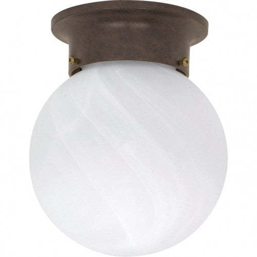 "Nuvo 1-Light 6"" Ball Flush Fixture w/ Alabaster Glass in Old Bronze Finish"