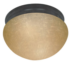 "Nuvo 2-Light 12"" Flush Mounted Light w/ Champagne Linen Glass in Mahogany Bronze"