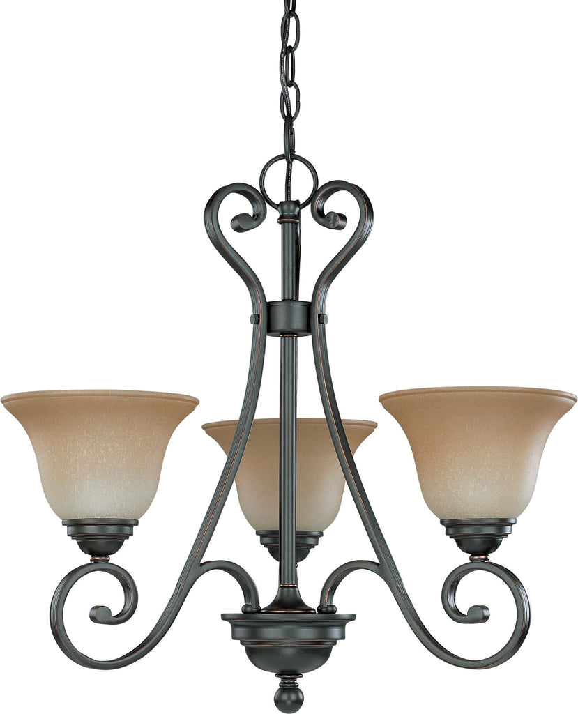 Nuvo Montgomery - 3 Light Chandelier w/ Champagne Linen Glass