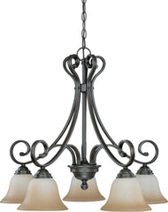 Nuvo Montgomery - 5 Light (arms down) Chandelier w/ Champagne Linen Glass