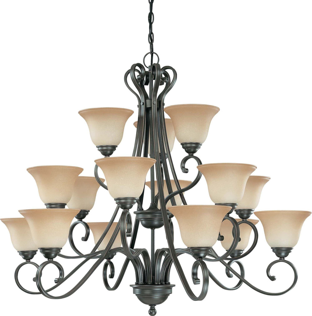 Nuvo Montgomery - 15 Light 3 Tier Chandelier w/ Champagne Linen Glass