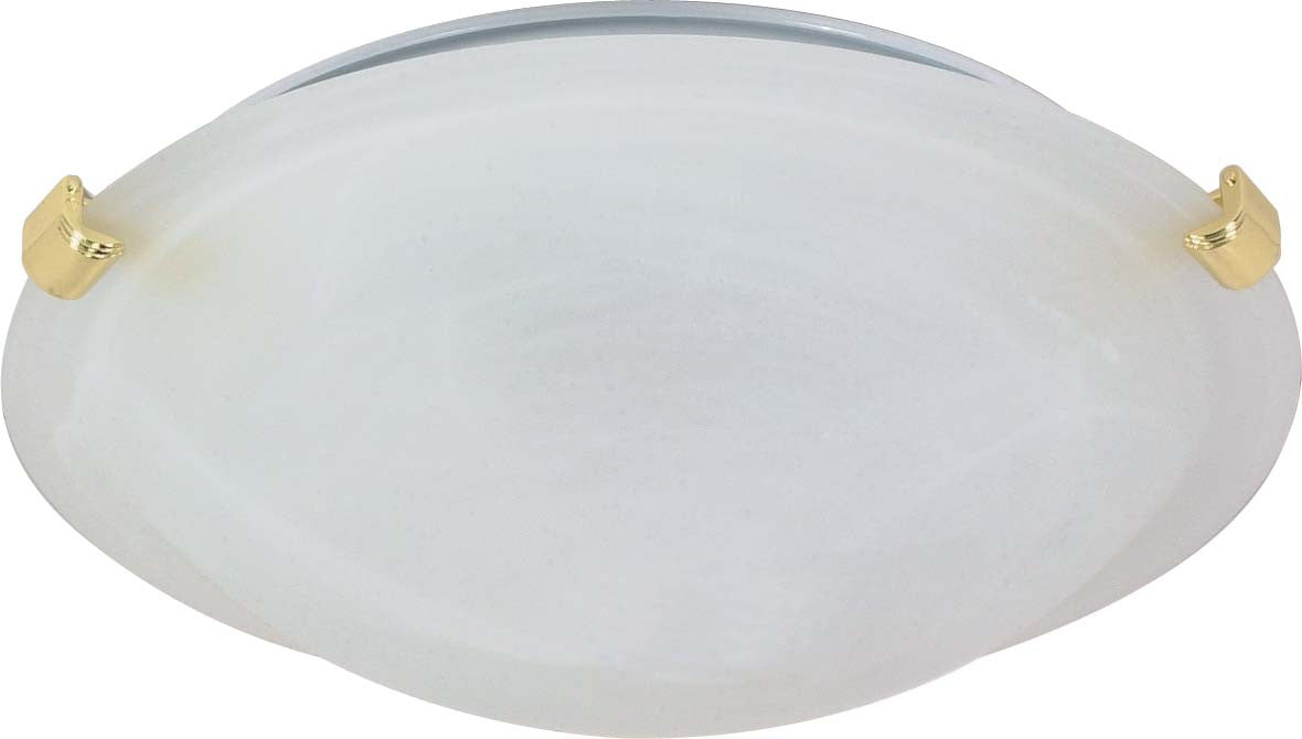 """Nuvo 2-Light 16"""" Tri-Clip Flush Mount w/ Alabaster Glass in Polished Brass"""